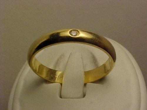 #413a - Anel Estilo Aliança Em Ouro 18k Com Diamante