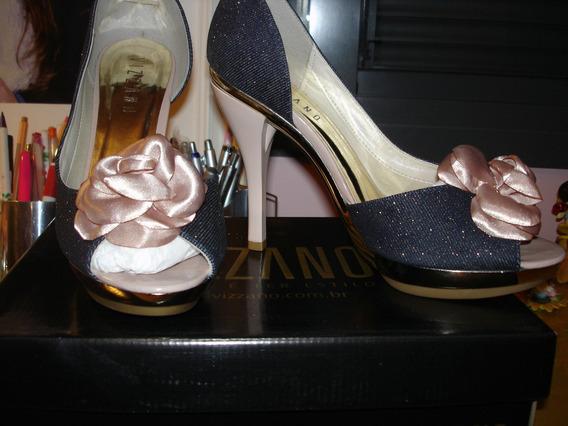 Lindo Sapato Peep Toe Cor Jeans Vizzano Número 39