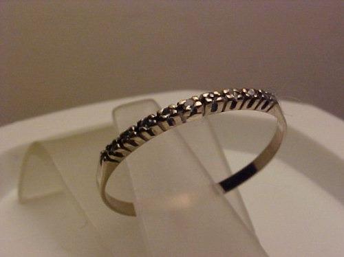 #352a -1/2 Aliança Em Ouro 18k Branca Com 9 Diamantes