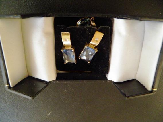 Conjunto De Água Marinha Em Ouro 18 Kts Brincos E Pingente