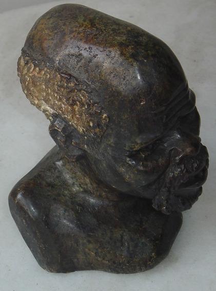 Escultura Busto Preto Velho Pedra 18x12x14 C/4,800kg ..