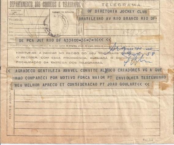 Telegrama Do Presidente João Goulart Ao Jockey Club 1958