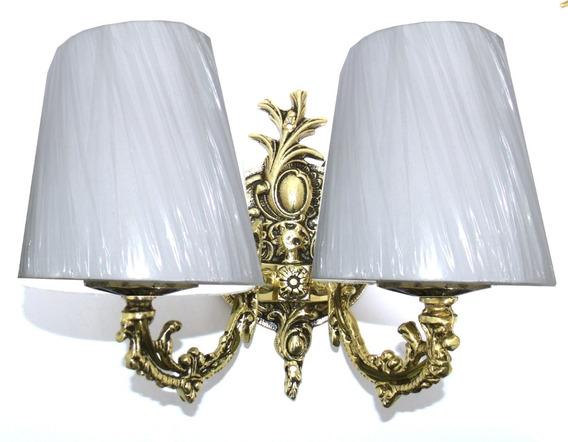 Arandela Luminária Dupla Em Bronze Com Cúpula