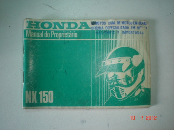 Manual Moto Honda Nx 150 1989 1990 1991 Original Trail Nx150