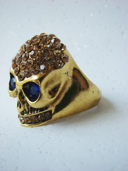 Anel Caveira Dourado Com Cristais E Pedras Strass