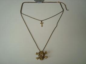 Colar Caveira C/ Pingente Cruz C/ Strass Metal Dourado