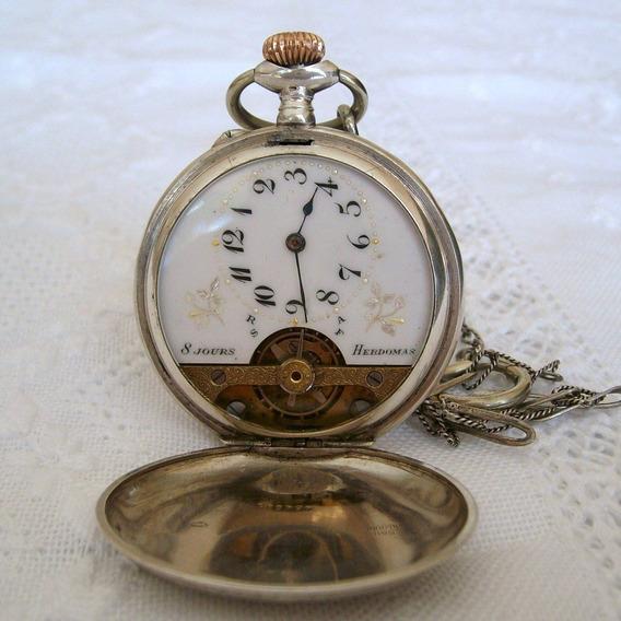 Raridade - Relógio De Bolso Hebdomas 8jours,