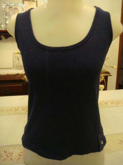 Blusa Regata Camiseta Algodão Azul Marinho Tam. M Canelada