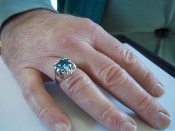 Anel Masculino Em Prata De Pedra Azul