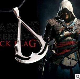 Colar Cordão Assassins Creed Pingente Prateado Frete Grátis