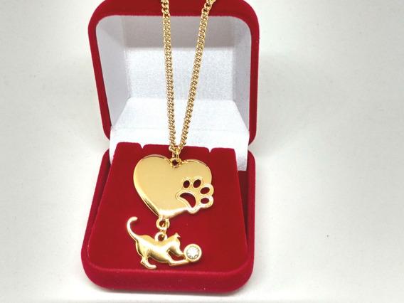 Colar Amor Animais Cachorrinhos Coração Poodle Banho Ouro