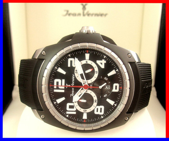 Soberbo Jean Vernier Top 48 Mm Rubber Chronograph Jv001p !!