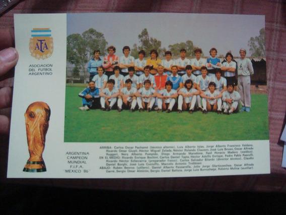 Postal Tarjeta Argentina Campeón Mexico 1986 25x15