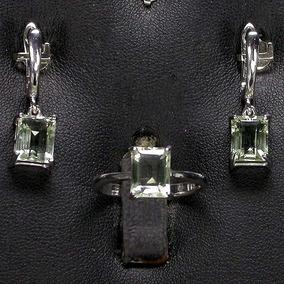 Conjunto Em Prata 925 E Ametista Verde