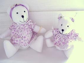 Dupla Ursinhas Urso Decoração Quarto Bebê Infantil Lilás