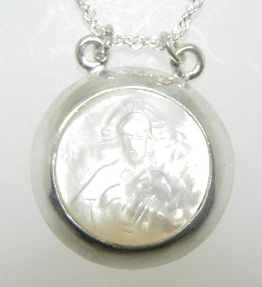 Conjunto Corrente E Pingente Em Prata 925 - Coração De Jesus