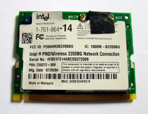Placa Mini Pci Wireless Notebook Vaio Vgn-s150 Vgn-s380 V505