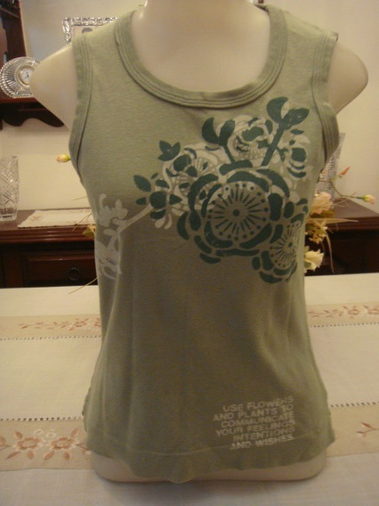 Blusa Camiseta Regata Canelada Verde Tam. P