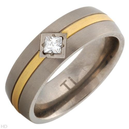 Anel Made Of 14k/ti Gold Plated Titanium-titanium/zircone