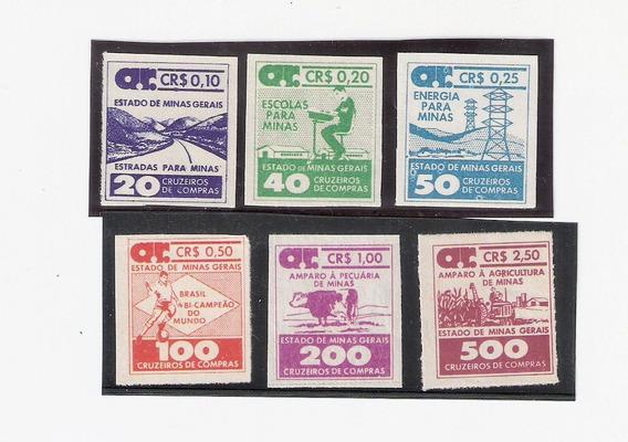 Minas Gerais- 6 Selos Fiscais Vários Assuntos,em Cruzeiro