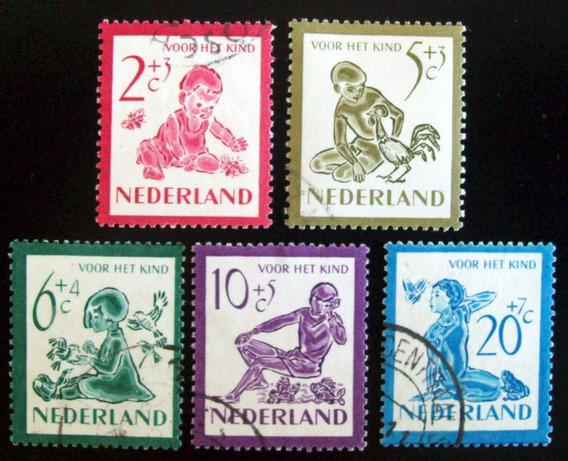 Holanda, Serie Sc. B219-23 Obras Infancia 1950 Usada L6894