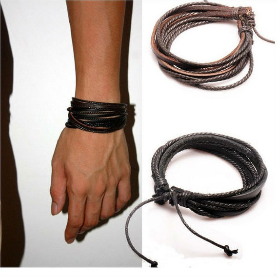 2 Pulseiras Bracelete Masculina Feminica Couro Legitimo