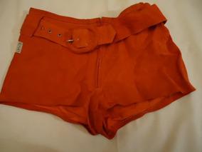 Shorts Em Couro Legitimo (camurça) - Novo- Tamanho P