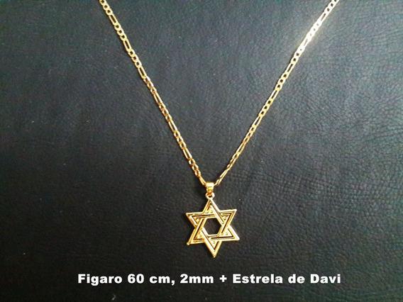 Corrente Figaro 2 Banhos Ouro 18k, 55cm 2mm, Estrela De Davi