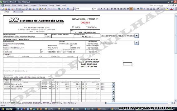 Planilha Imprimir Nota Fiscal - Faturas