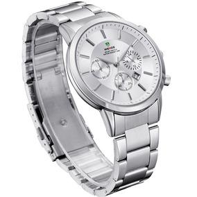 Relógio Weide Aço Prata Clássico Weide 3312 Calendário Data