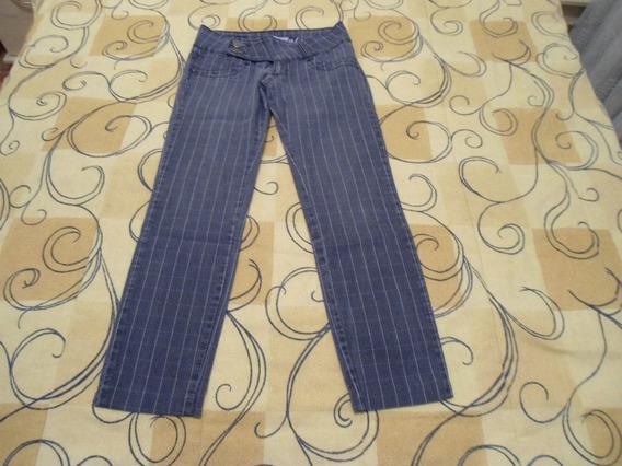 Calça Jeans Biotipo Tamanho 38 Cinza Risca Giz Otimo Estado