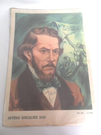 Gravura Retratando Ântonio Gonçalves Dias Lanzellotti Coleçã