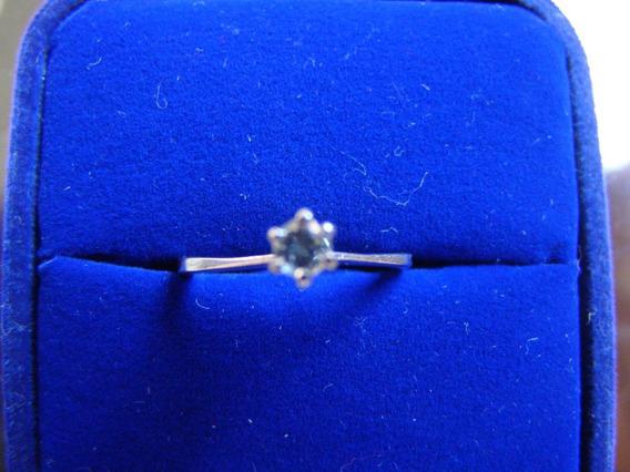 Anel Solitario De Ouro Branco 18k Com Diamante 01