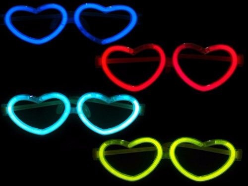 Imagen 1 de 9 de Lentes Cotillón Neon Aviador Y Corazón - Pack X12!!!