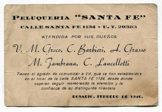 Antigua Trajeta Publicidad Peluqueria Santa Fe Rosario 1946