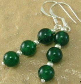 Brinco De Jade Verde 3 Esferas Naturais (5 Cm Comprimento)