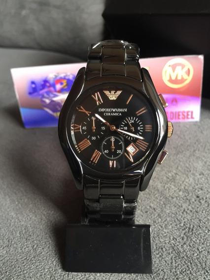 Relógio Emporio Armani Ar1410 Cerâmica Preto E Rose Original