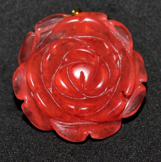 Dije Flor Rosa-labrada En Piedra De-agata Roja- Flete Gratis