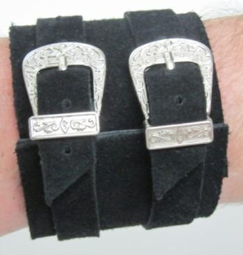 Pl 391 - Bracelete Duas Fivelas Couro Legítimo