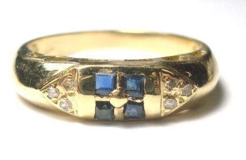 Anel Aparador Diamantes E Safiras Naturais Ouro 18k