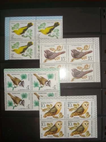 Nms 0076b - Maravilhoso Conjunto De Quadras Sobre Aves Urss!