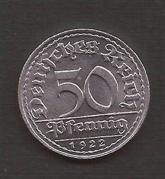 Alemania 50 Pfennig 1922 Republica Weimar Moneda Nueva