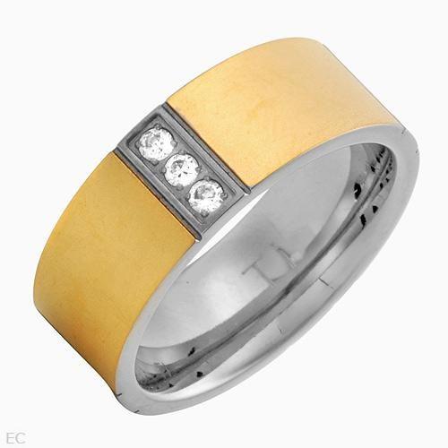 Anel Com 1.20ctw Zirconia Cúbico Em 14k/ti Dourado Titanium