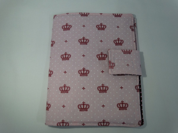 Capa Caderneta Vacinação De Tecido Coroa Rosa