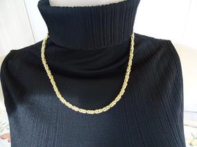 Cordão Dourado Em Plaque 47 Centímetros Lindo