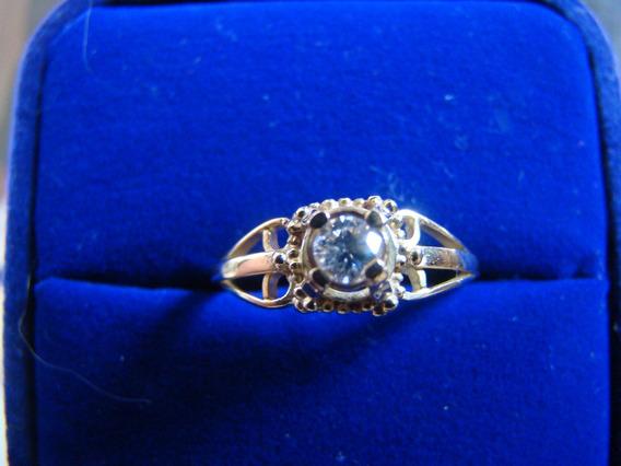 Anel Solitario De Ouro Amarelo 18k Com Diamante 15