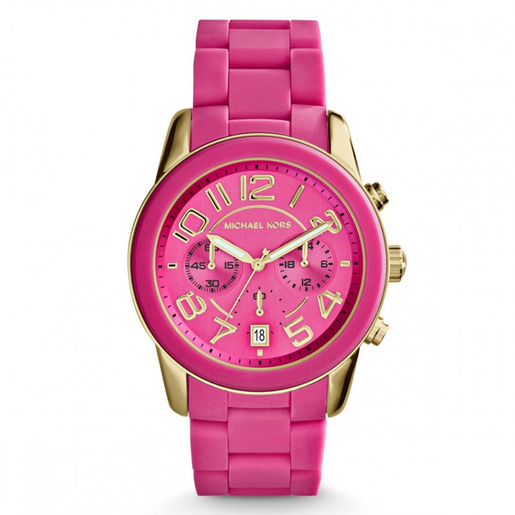 Relógio Michael Kors Mk5890 Orig Chron Anal Gold Pink