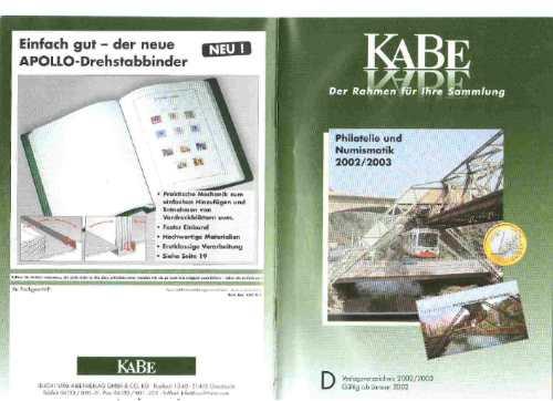 Catalogo Alemão K A B E Material Numismático / Filatelico