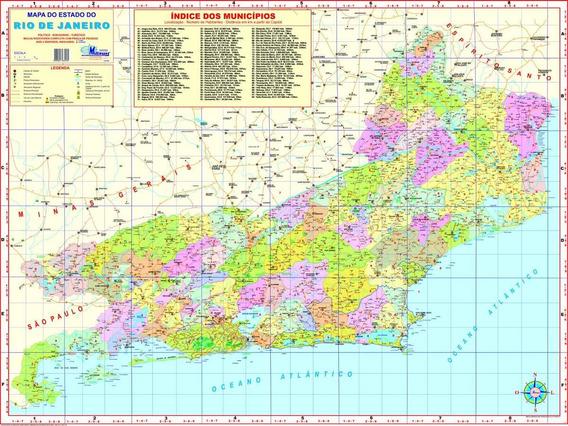 Mapa Estado Rio De Janeiro-político-117 X 89 Cm-frete Grátis