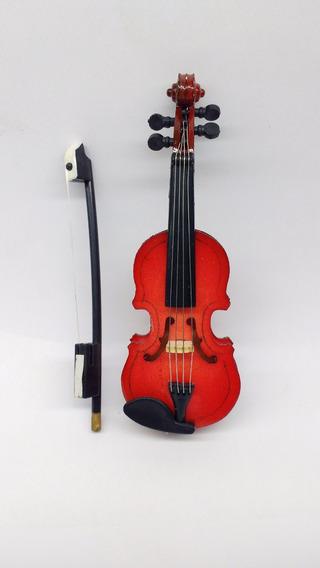 Miniatura Violino Instrumento Musical Madeira Arte Decoração